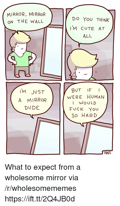 Cute, Dude, and Fuck You: MIRROR, MIRROR  ON THE WALL  Do YoU THINK  'M CUTE AT  ALL  IM JUST  A MIRROR  DUDE  BUT IFI  WERE HUMAN  I WoULD  FUCK You  So HARD What to expect from a wholesome mirror via /r/wholesomememes https://ift.tt/2Q4JB0d