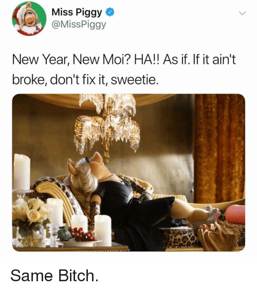 Bitch, Funny, and Miss Piggy: Miss Piggy  @MissPiggy  New Year, New Moi? HA!! As if. If it ain't  broke, don't fix it, sweetie Same Bitch.