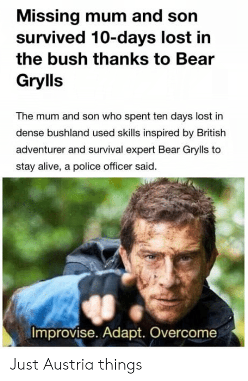 Adapte: Missing mum and son  survived 10-days lost in  the bush thanks to Bear  Grylls  The mum and son who spent ten days lost in  dense bushland used skills inspired by British  adventurer and survival expert Bear Grylls to  stay alive, a police officer said.  Improvise. Adapt. Overcome Just Austria things