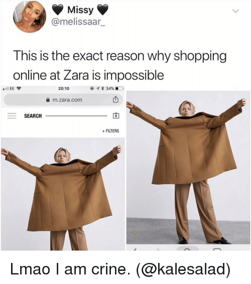 Zara: Missy  @melissaar  This is the exact reason why shopping  online at Zara is impossible  l EE  20:10  @-q * 34%.-D.  m.zara.com  SEARCH  0  FILTERS Lmao I am crine. (@kalesalad)