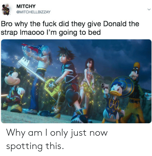 Fuck, Why, and Did: MITCHY  @MITCHELLBIZZAY  Bro why the fuck did they give Donald the  strap Imaooo l'm going to bed Why am I only just now spotting this.