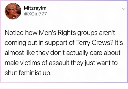 Memes, Terry Crews, and Mens Rights: Mitzrayinm  @XGirl777  Notice how Men's Rights groups aren't  coming out in support of Terry Crews? It's  almost like they don't actually care about  male victims of assault they just want to  shut feminist up.