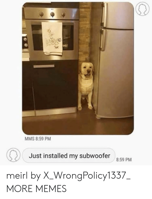 Dank, Memes, and Target: MMS 8:59 PM  Just installed my subwoofer  8:59 PM meirl by X_WrongPolicy1337_ MORE MEMES