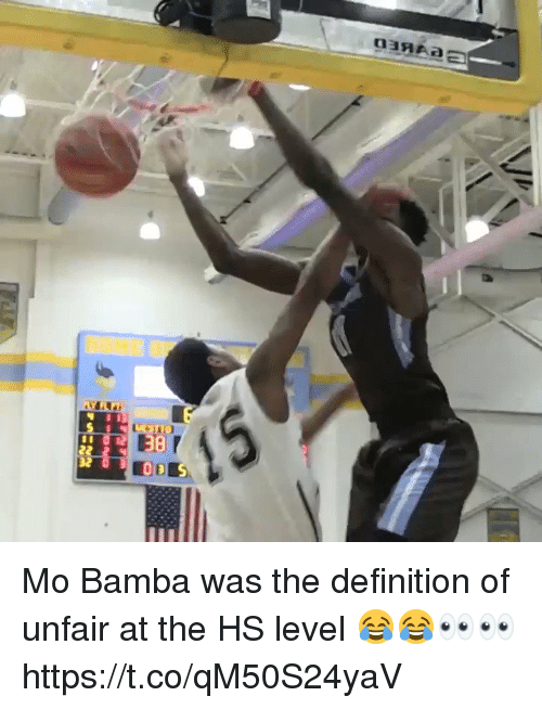 Memes, Definition, and 🤖: Mo Bamba was the definition of unfair at the HS level 😂😂👀👀 https://t.co/qM50S24yaV