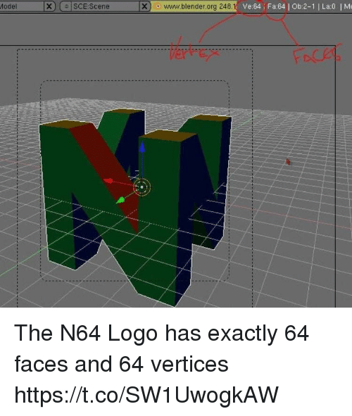 n64: Model  X|  |SCE:Scene  Xo www.blender.org 248.1  Ve:64 Fa64 Ob:2-1 | La:0 Me The N64 Logo has exactly 64 faces and 64 vertices https://t.co/SW1UwogkAW
