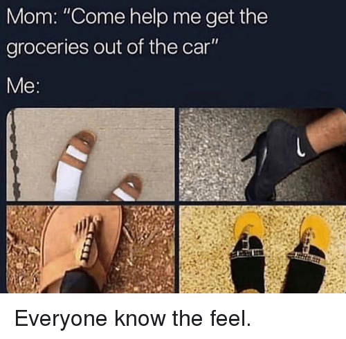 "Dank, Help, and Mom: Mom: ""Come help me get the  groceries out of the car  Me Everyone know the feel."