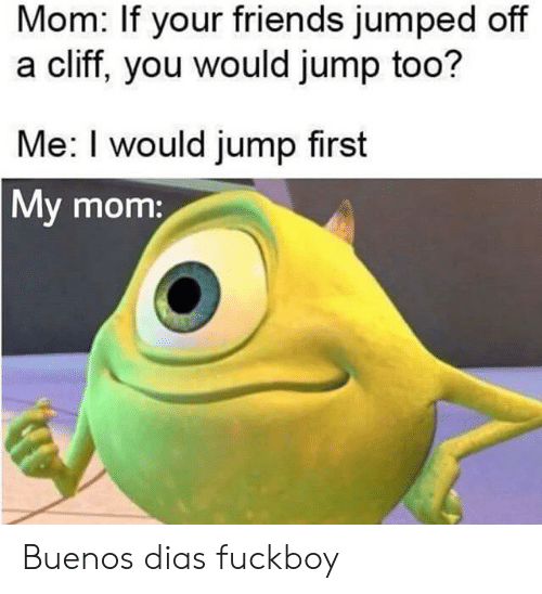 Friends, Fuckboy, and Jumped: Mom: If your friends jumped off  a cliff, you would jump too?  Me: I would jump first  My mom: Buenos dias fuckboy