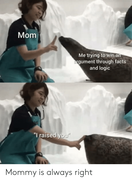 """Logic: Mom  Me trying to win an  argument through facts  and logic  """"I raised you"""" Mommy is always right"""