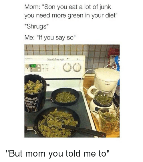 "Dieting, Moms, and Girl Memes: Mom: ""Son you eat a lot of junk  you need more green in your diet""  Shrugs  Me: ""If you say so ""But mom you told me to"""