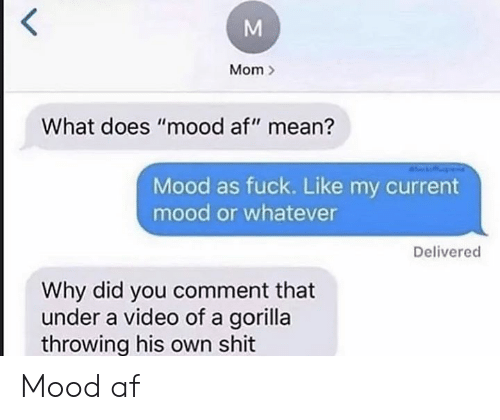 "Af, Mood, and Shit: Mom  What does ""mood af"" mean?  Mood as fuck. Like my current  mood or whatever  Delivered  Why did you comment that  under a video of a gorilla  throwing his own shit Mood af"
