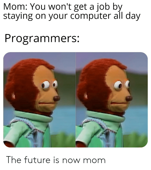 Future, Computer, and Mom: Mom: You won't get a job by  staying on your computer all day  Programmers: The future is now mom