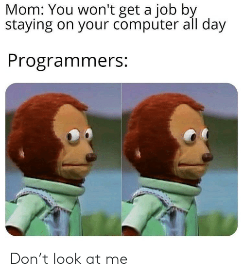 Mom: Mom: You won't get a job by  staying on your computer all day  Programmers: Don't look at me