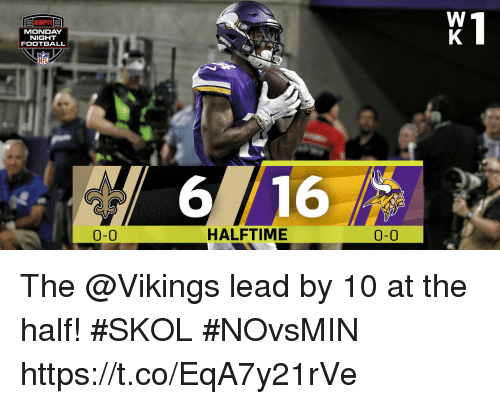 halfs: MONDAY  NIGHT  FOOTBALL  6  16  0-0  HALFTIME  0-0 The @Vikings lead by 10 at the half! #SKOL #NOvsMIN https://t.co/EqA7y21rVe