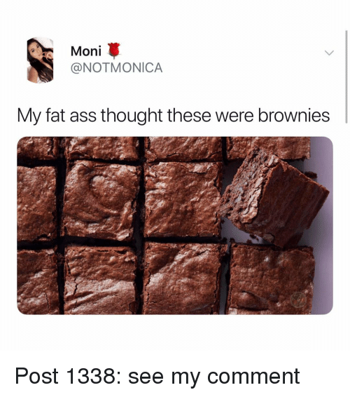 Ass, Fat Ass, and Memes: Moni  @NOTMONICA  My fat ass thought these were brownies Post 1338: see my comment