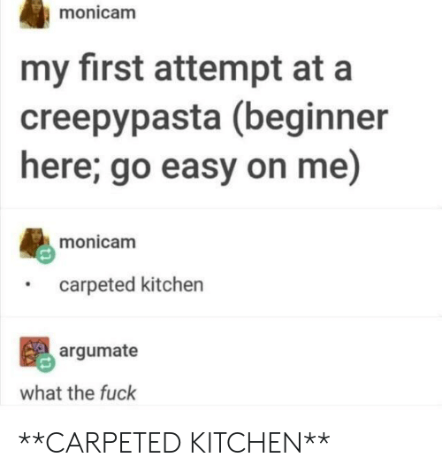 Fuck, Creepypasta, and Easy: monicam  my first attempt at a  creepypasta (beginner  here; go easy on me)  monicam  carpeted kitchen  argumate  what the fuck **CARPETED KITCHEN**