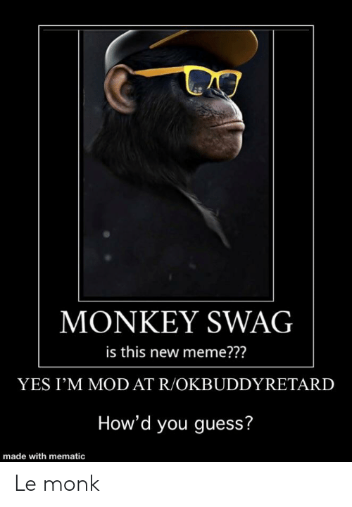 Meme, Swag, and Guess: MONKEY SWAG  is this new meme???  YES I'M MOD AT R/OKBUDDYRETARD  How'd you guess? Le monk