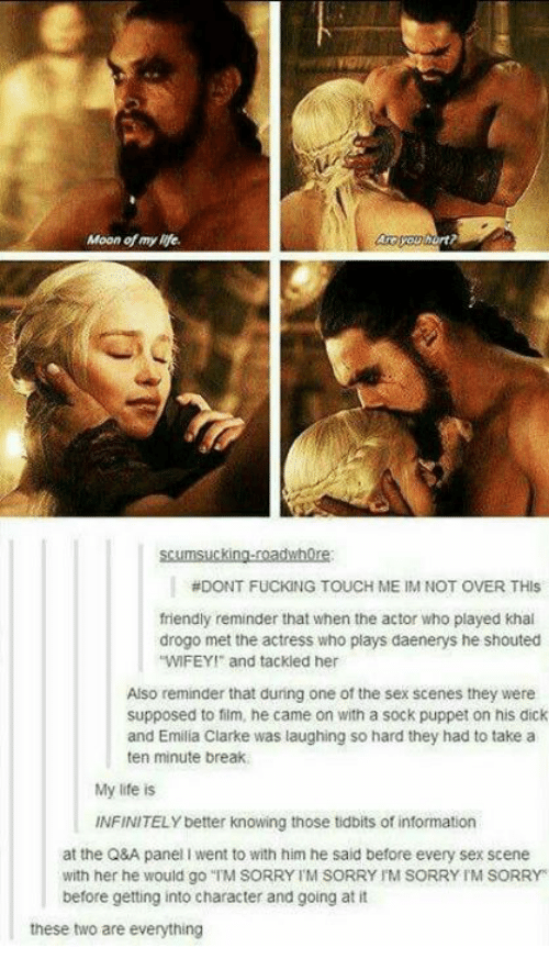 "Fucking, Life, and Memes: Moon of my life  rt  scumsucking-roadwhore  #DONT FUCKING TOUCH ME IM NOT OVER THIS  friendly reminder that when the actor who played khal  drogo met the actress who plays daenerys he shouted  WIFEY and tackled her  Also reminder that during one of the sex scenes they were  supposed to film, he came on with a sock puppet on his dick  and Emilia Clarke was laughing so hard they had to take a  ten minute break  My life is  INFINITELY better knowing those tidbits of information  at the Q&A panel I went to with him he said before every sex scene  with her he would go ""TM SORRY TM SORRY IM SORRY IM SORRY  before getting into character and going at it  these two are everything"