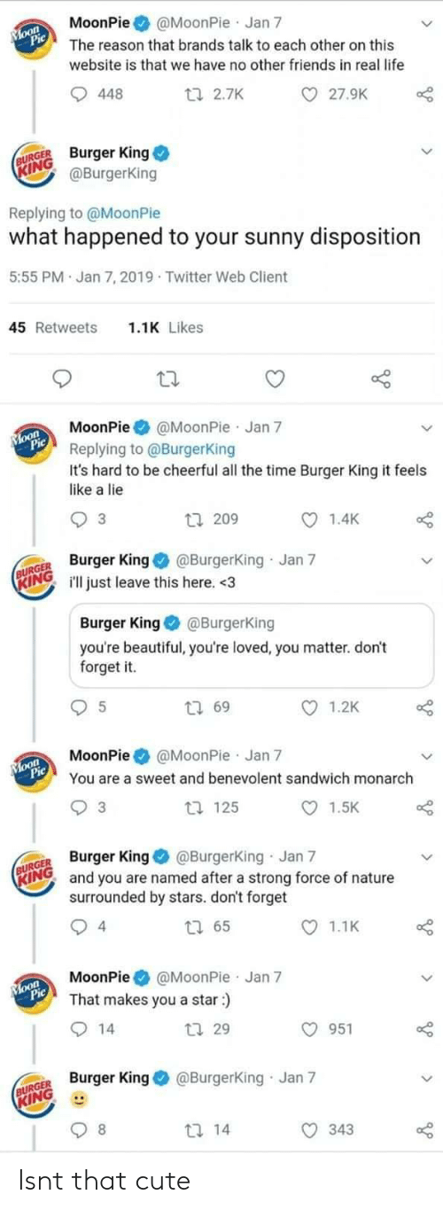 Beautiful, Burger King, and Cute: MoonPie@MoonPie Jan 7  The reason that brands talk to each other on this  website is that we have no other friends in real life  27.9K  448  ti 2.7K  URGE Burger King  ING  @BurgerKing  Replying to @MoonPie  what happened to your sunny disposition  5:55 PM Jan 7, 2019 Twitter Web Client  1.1K Likes  45 Retweets  MoonPie@MoonPie Jan 7  Replying to @BurgerKing  It's hard to be cheerful all the time Burger King it feels  like a lie  1.4K  3  tl 209  R King@Burgerking Jan 7  INGill just leave this here. <3  Burger King@BurgerKing  you're beautiful, you're loved, you matter. don't  forget it.  1.2K  t 69  MoonPie @MoonPie Jan 7  You are a sweet and benevolent sandwich monarch  1.5K  t 125  3  GER Burger King @Burgerking Jan 7  RINO and you are named after a strong force of nature  surrounded by stars. don't forget  1.1K  4  MoonPie@MoonPie Jan 7  That makes you a star:)  O 951  tl 29  Burger King@Burgerking Jan 7  KING  343 Isnt that cute