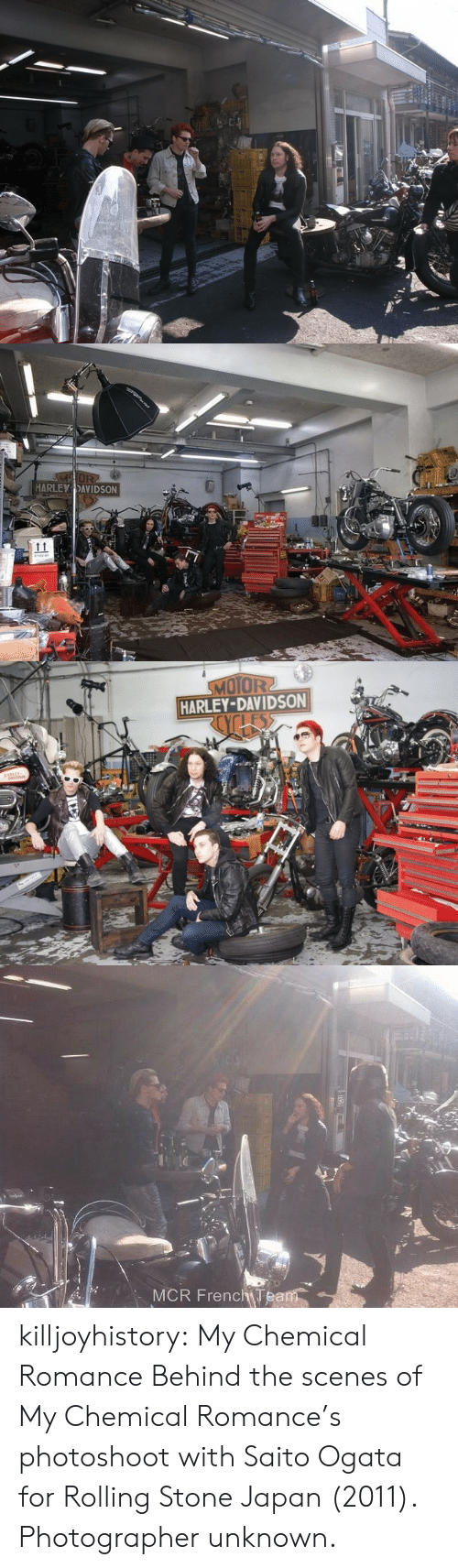 davidson: MOR  HARLEY DAVIDSON   MOTOR2  HARLEY-DAVIDSON  os   MCR FrenchTeam killjoyhistory:  My Chemical Romance Behind the scenes of My Chemical Romance's photoshoot with Saito Ogata for Rolling Stone Japan (2011). Photographer unknown.