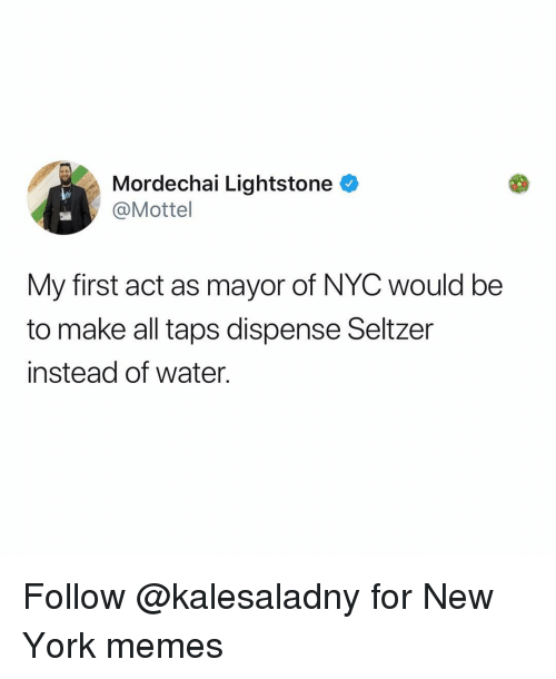 Taps: Mordechai Lightstone  @Mottel  My first act as mayor of NYC would be  to make all taps dispense Seltzer  instead of water. Follow @kalesaladny for New York memes