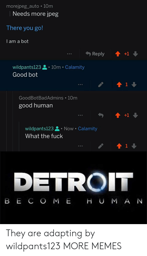 there you go: morejpeg_auto 10m  Needs more jpeg  There you go!  I am a bot  wildpants123. 10m Calamity  Good bot  GoodBotBadAdmins 10m  good human  wildpants123 Now Calamity  What the fuck  1  DETROIT  B E C O M E H U M A N They are adapting by wildpants123 MORE MEMES