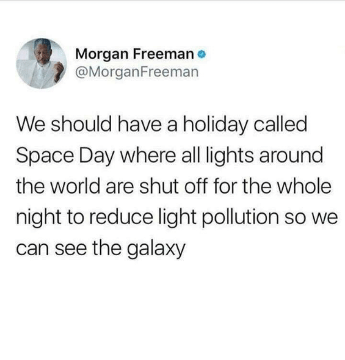 Morgan Freeman, Space, and World: Morgan Freeman  @MorganFreemarn  We should have a holiday called  Space Day where all lights around  the world are shut off for the whole  night to reduce light pollution so we  can see the galaxy