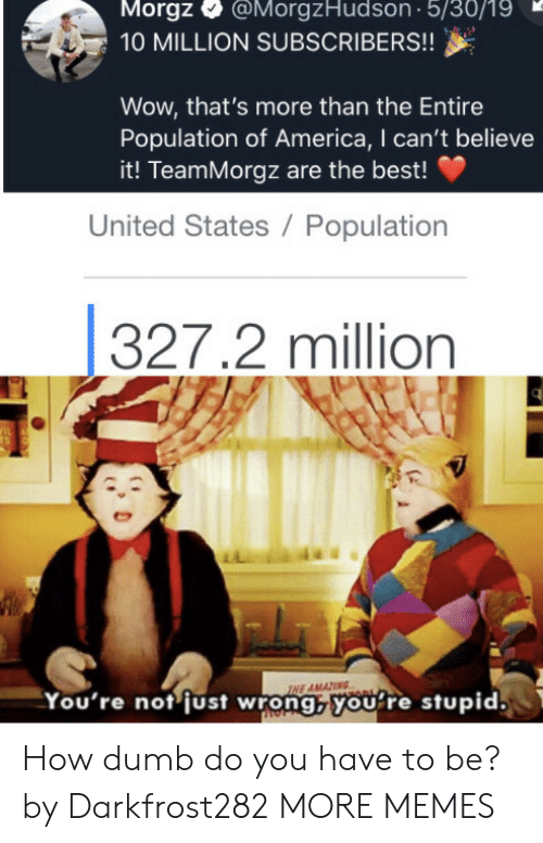 of america: Morgz  @MorgzHudson 5/30/19  10 MILLION SUBSCRIBERS!!  Wow, that's more than the Entire  Population of America, I can't believe  it! TeamMorgz are the best!  United States / Population  327.2 million  IL  TS  INE AMAZING  You're not just wrong,youre stupid. How dumb do you have to be? by Darkfrost282 MORE MEMES