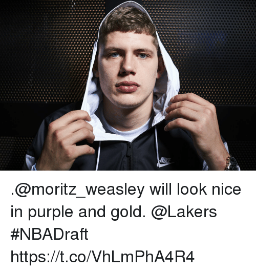 Los Angeles Lakers, Memes, and Purple: .@moritz_weasley will look nice in purple and gold. @Lakers #NBADraft https://t.co/VhLmPhA4R4