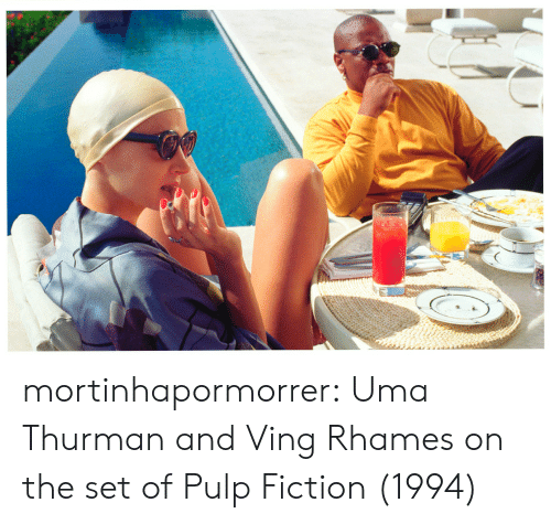 Pulp Fiction, Tumblr, and Blog: mortinhapormorrer:   Uma Thurman and Ving Rhames on the set of Pulp Fiction (1994)