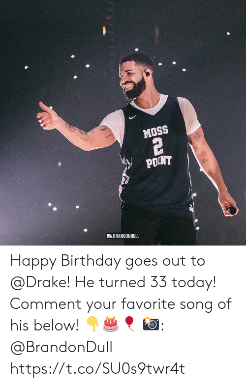 Drake: MOSS  POINT  BRANDONDULL Happy Birthday goes out to @Drake! He turned 33 today! Comment your favorite song of his below! 👇🎂🎈  📸: @BrandonDull https://t.co/SU0s9twr4t