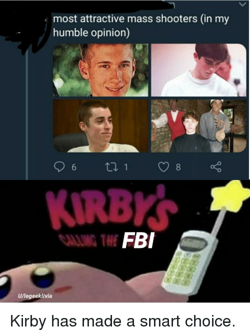 Fbi, Shooters, and Humble: most attractive mass shooters (in my  humble opinion)  FBI  U/legeeklivia Kirby has made a smart choice.