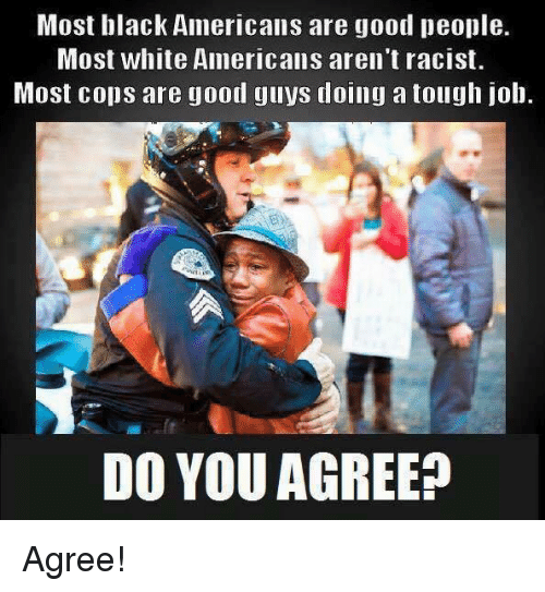 Tough Job: Most black Americans are good people.  Most white Americans aren't racist.  Most cops are good guys doing a tough job.  DO YOU AGREE? Agree!