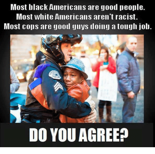 Tough Job: Most black Americans are good people.  Most white Americans aren't racist.  Most cops are good guys doing a tough job.  DO YOU AGREE?
