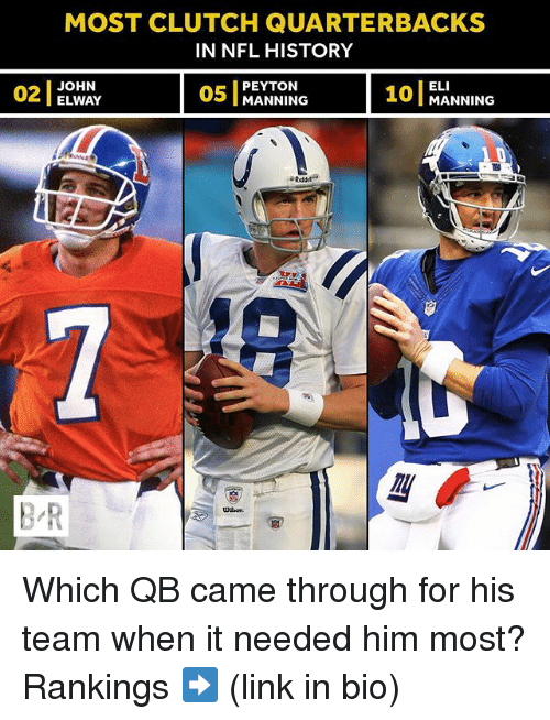 elis: MOST CLUTCH QUARTERBACKS  IN NFL HISTORY  OWA  05 MANNING 10 MANNING  ELI  101 MANNING  02  2JOHN  PEYTON  ELWAY  B-R  UH on Which QB came through for his team when it needed him most? Rankings ➡️ (link in bio)