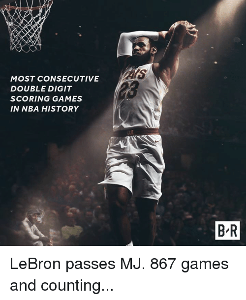 Nba, Games, and History: MOST CONSECUTIVE  DOUBLE DIGIT  SCORING GAMES  IN NBA HISTORY  .L  B R LeBron passes MJ. 867 games and counting...