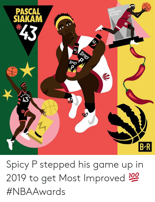 """Rap, Game, and Spicy: MOST  IMPROVED  PLAYER  PASCAL  SIAKAM  $43  43  43  SPICY  SPICY  RAP  """"43°  R  B R Spicy P stepped his game up in 2019 to get Most Improved 💯 #NBAAwards"""