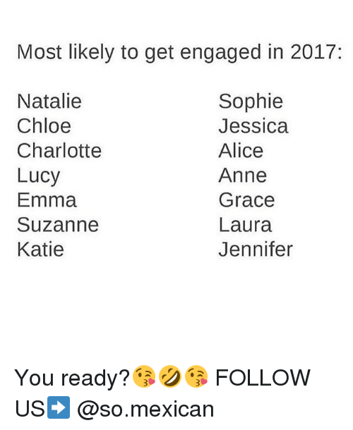 Kati: Most likely to get engaged in 2017  Sophie  Natalie  Chloe  Jessica  Charlotte  Alice  Lucy  Anne  Emma  Grace  Suzanne  Laura  Katie  Jennifer You ready?😘🤣😘 FOLLOW US➡️ @so.mexican
