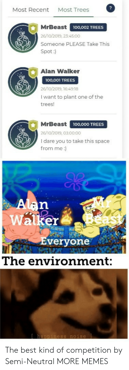 environment: Most Trees  Most Recent  MrBeast  100,002 TREES  26/10/2019, 23:45:00  Someone PLEASE Take This  Spot:)  Alan Walker  100,001 TREES  26/10/2019, 16:4918  I want to plant one of the  trees!  MrBeast  100,000 TREES  26/10/2019, 03:00:00  I dare you to take this space  from me:  Alan  Walker  Everyone  The environment:  happiness noise The best kind of competition by Semi-Neutral MORE MEMES