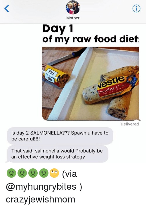 Jewish, Spawn, and Strategy: Mother  Day 1  of my raw food diet  TOLL 7  late  Delivered  Is day 2 SALMONELLA??? Spawn u have to  be careful!  That said, salmonella would Probably be  an effective weight loss strategy 🤢🤢🤢🤢🙄 (via @myhungrybites ) crazyjewishmom
