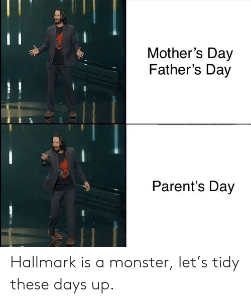 Fathers Day, Monster, and Mother's Day: Mother's Day  Father's Day  Parent's Day Hallmark is a monster, let's tidy these days up.