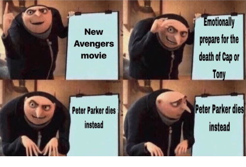 Avengers, Death, and Movie: motionally  prepare for the  death of Cap or  Tony  New  Avengers  movie  Peter Parker dies  instead  Peter Pakerdies  instead