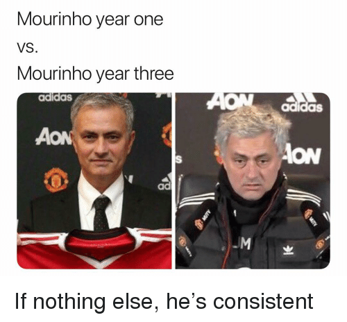 Adidas, Soccer, and Sports: Mourinho year one  VS  Mourinho year three  adidas  adidas  ON  ad If nothing else, he's consistent