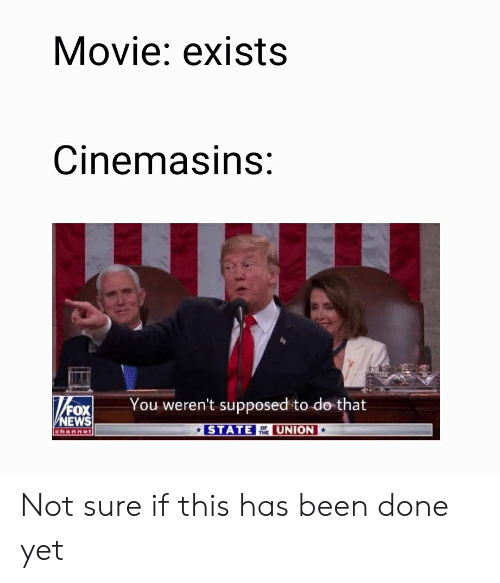 News, Fox News, and Movie: Movie: exists  Cinemasins:  T20x  You weren't supposed to do that  FOX  NEWS  channel  STATE EUNION  THE Not sure if this has been done yet