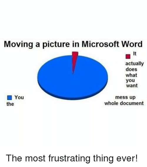 Memes, Microsoft, and Microsoft Word: Moving a picture in Microsoft Word  It  actually  does  what  you  want  ■ You  the  mess up  whole document The most frustrating thing ever!