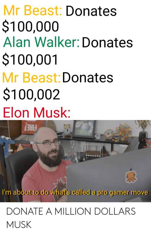 Fire, Pro, and Elon Musk: Mr Beast: Donates  $100,000  Alan Walker: Donates  $100,001  Mr Beast: Donates  $100,002  Elon Musk:  FIRE!  I'm about to do what's called a pro gamer move DONATE A MILLION DOLLARS MUSK