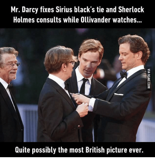 ollivander: Mr. Darcy fixes Sirius black's tie and Sherlock  Holmes consults while Ollivander watches...  Quite possibly the most British picture ever.