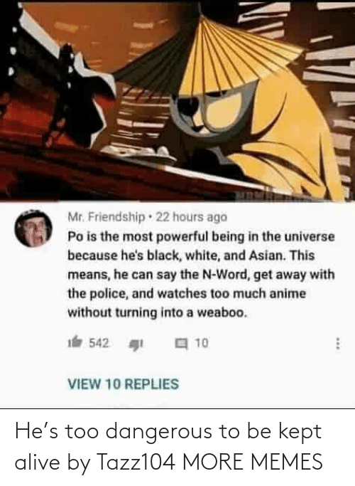 Kept Alive: Mr. Friendship · 22 hours ago  Po is the most powerful being in the universe  because he's black, white, and Asian. This  means, he can say the N-Word, get away with  the police, and watches too much anime  without turning into a weaboo.  a 10  542  VIEW 10 REPLIES He's too dangerous to be kept alive by Tazz104 MORE MEMES