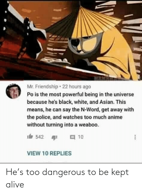 Kept Alive: Mr. Friendship · 22 hours ago  Po is the most powerful being in the universe  because he's black, white, and Asian. This  means, he can say the N-Word, get away with  the police, and watches too much anime  without turning into a weaboo.  a 10  542  VIEW 10 REPLIES He's too dangerous to be kept alive