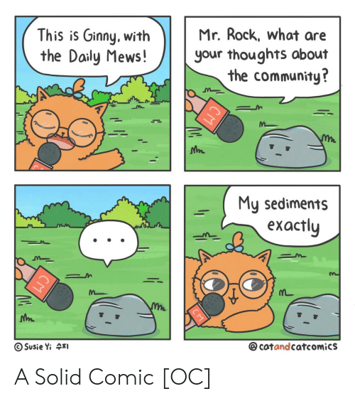 Community, Rock, and Comic: Mr. Rock, what are  This is Ginny, with  the Daily Mews!  your thoughts about  the community?  My sediments  еxactly  @cotandcatcomics  Susie Yi 4I  СМ  CM A Solid Comic [OC]