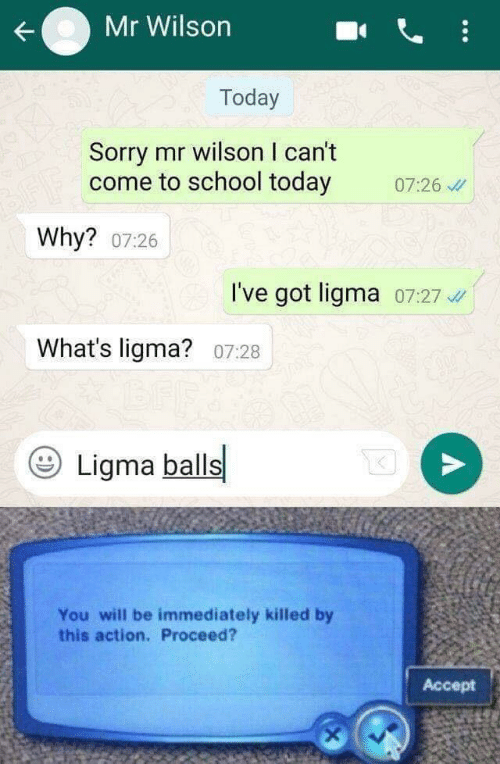 School, Sorry, and Today: Mr Wilson  Today  Sorry mr wilson I can't  come to school today 0:26  Why? 07:26  I've got ligma 07:27 4  What's ligma? 07:28  Ligma balls  You will be immediately killed by  this action, Proceed?  Accept